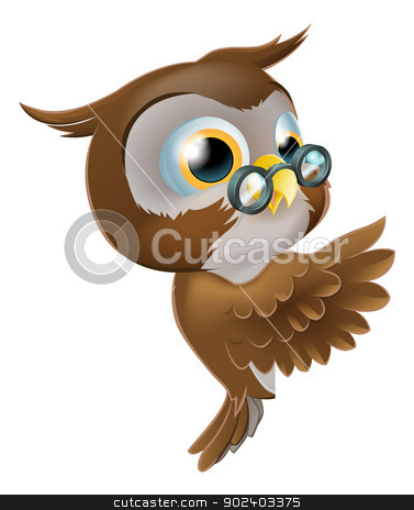 Pointing Cute Owl stock vector clipart, An illustration of a cute cartoon wise owl character with glasses peeking round from behind a sign and pointing or showing what it says by Christos Georghiou
