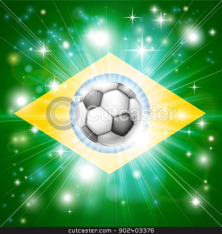 Brazil soccer flag stock vector clipart, Flag of Brazil soccer background with pyrotechnic or light burst and soccer football ball in the centre  by Christos Georghiou