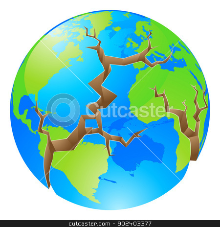 World crisis concept stock vector clipart, Conceptual illustration of a world crisis concept. The globe with big cracks opening up round it, could a concept for environmental problems or similar. by Christos Georghiou