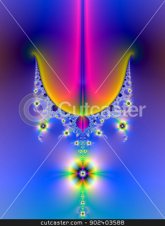 Floral Chandelier  stock photo, Digital abstract fractal image with a psychedelic floral chandelier design in blue, pink, orange and green. by Colin Forrest