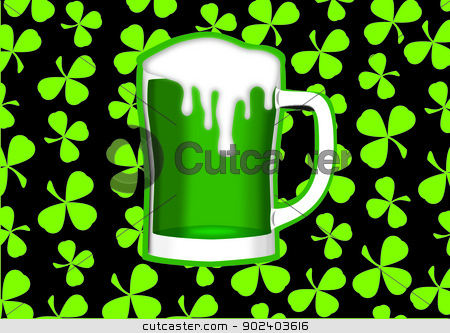 St Patrick Beer stock vector clipart, St Patricks day themed green beer by Bogdan