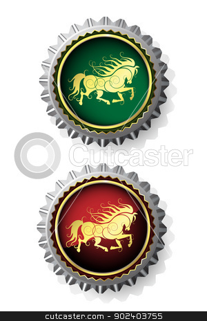 Bottle caps with horse stock vector clipart, Bottle caps with gold horse by Merlinul
