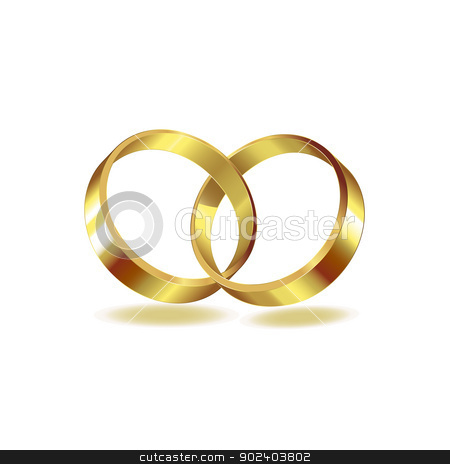 Two wedding ring stock vector clipart, Two wedding ring on white background  by Merlinul