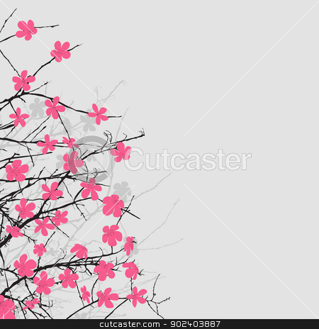 Floral composition stock vector clipart, Cherry blossom floral background, abstract art by Richard Laschon