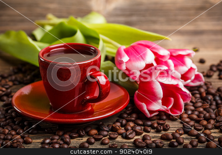 Coffee cup stock photo, Coffee cup and red tulips  by Grafvision