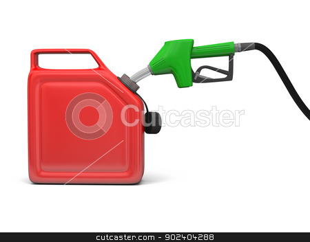 Petrol pump and jerry can stock photo, Illustration of green fuel pump nozzle and red jerry can isolated on white background by Harvepino