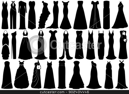 Set of dresses stock vector clipart, Set of dresses isolated on white by Ioana Martalogu