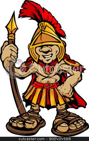 Spartan Trojan Mascot Vector Cartoon with Spear stock vector clipart, Cartoon Graphic of a Greek Spartan or Trojan Mascot holding a Spear by chromaco