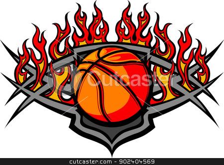Basketball Ball Template with Flames Vector Image stock vector clipart, Graphic Basketball Ball vector image template with flames by chromaco