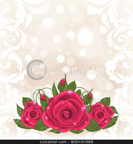 Luxury card with bouquet of pink roses stock vector clipart, Illustration luxury card with bouquet of pink roses - vector by -=Mad Dog=-