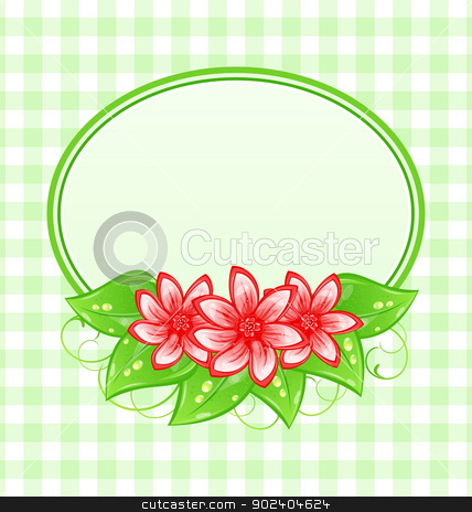 Cute spring card with flowers and leaves stock vector clipart, Illustration cute spring card with flowers and leaves - vector by -=Mad Dog=-