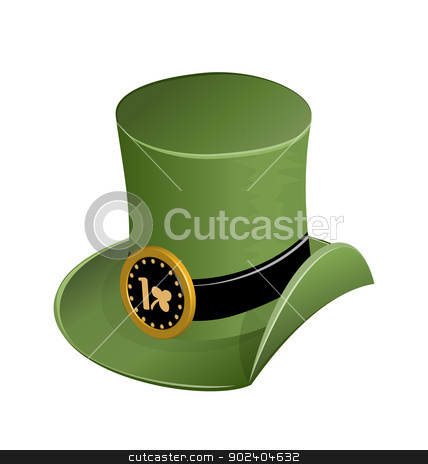 Green hat in st Patricks Day stock vector clipart, Illustration of green hat in saint Patrick Day - isolated on white - vector by -=Mad Dog=-