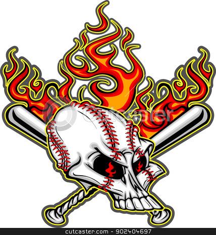 Softball Baseball Skull and Bats Flaming Cartoon Image stock vector clipart, Cartoon Image of Flaming Baseball Bats and Skull with Baseball Laces by chromaco