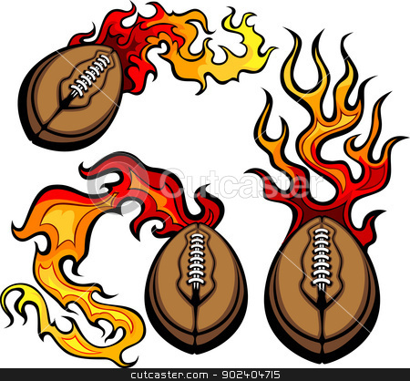 American Football Ball Flaming Vector Design Template stock vector clipart, Flaming American Football Ball Vector burning with Fire Flames by chromaco
