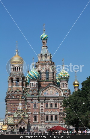 Cathedral  stock photo, View of a  Church of the Resurrection of Christ, St. Petersburg, Russia by mrivserg