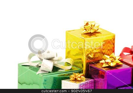 gifts stock photo, Christmas box gifts with satin bow isolated on white background by Vitaliy Pakhnyushchyy