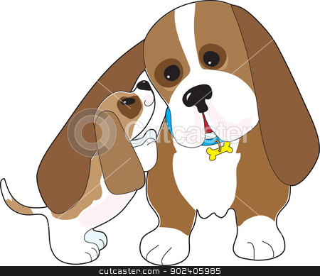 Basset Talk Dad stock vector clipart, A mature Basset hound is nuzzled by a happy pup. by Maria Bell