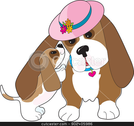 Basset Talk Mom stock vector clipart, A mature Basset hound is nuzzled by a happy pup. by Maria Bell