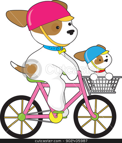Cute Puppy on Bike stock vector clipart, A couple of cute pups wearing their helmets, ride a bicycle with one as a passenger in the front carrier. by Maria Bell