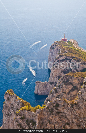 Capri Island panorama stock photo, Panorama with Capri lighthouse and boats during a sunny day by Paolo Gallo