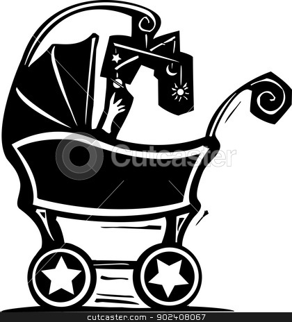 Baby Carriage stock vector clipart, woodcut style baby in a baby carriage plays with science mobile. by Jeffrey Thompson