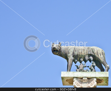 Wolf with Romulus and Remus stock photo, Romulus and Remus are Rome's twin founders in its traditional foundation myth by Paolo Gallo