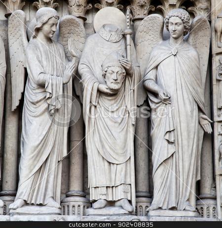 Notre Dame Cathedral - Paris stock photo, Detail of gothic Cathedral of Notre Dame in Paris by Paolo Gallo