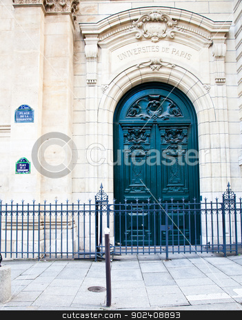 Paris - Sorbonne University Entrance stock photo, One of the oldest University of the world, founded in 12th century by Paolo Gallo