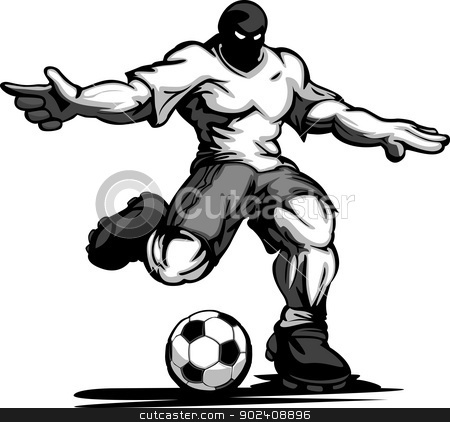 Buff Soccer Player Kicking Ball Vector Illustration stock vector clipart, Cartoon Strong Muscular Soccer Player Kicking Ball Vector Illustration by chromaco