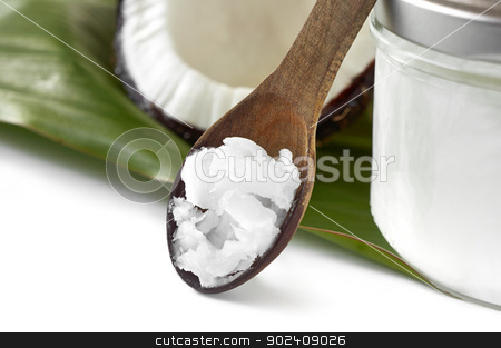 Close-up of coconut oil on the wooden spoon stock photo, Close-up of coconut oil on the wooden spoon. Beauty and cuisine. by Kaja Twardy