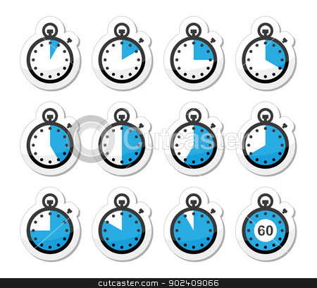 Time, clock, stopwatch vector icons set stock vector clipart, Timer measuring different time blue and black labels isolated on white by Agnieszka Murphy