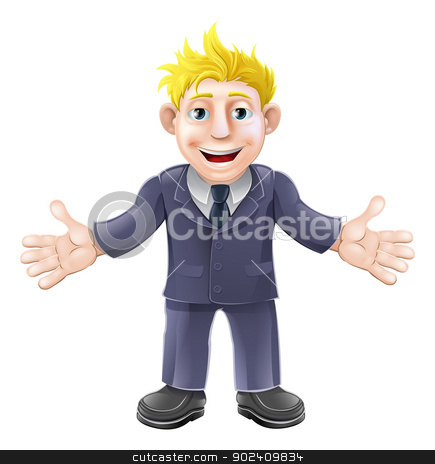 Blonde businessman cartoon stock vector clipart, Cartoon illustration of a happy cartoon businessman in suit smiling by Christos Georghiou