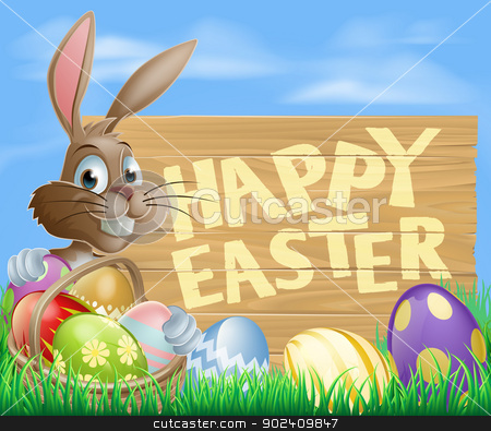 Happy Easter Sign stock vector clipart, Happy cartoon Bunny character with Easter Eggs and hamper and wooden Happy Easter sign  by Christos Georghiou