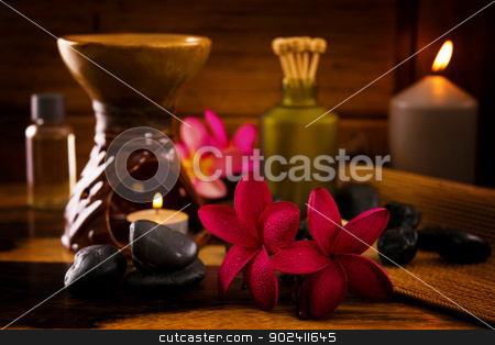 Balinese Spa setting. stock photo, Balinese Spa setting. Low lighting, suitable for spa related theme. by szefei