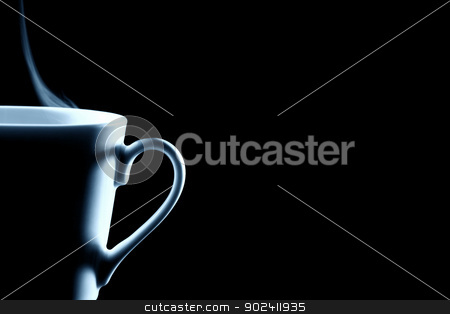 half steaming coffee cup contour on black stock photo, half steaming coffee cup contour on black by Rob Stark