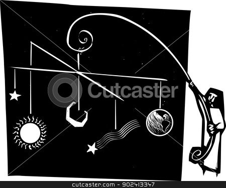 Solar System Mobile stock vector clipart, Woodcut style of a nun holding up a mobile of the solar system by Jeffrey Thompson