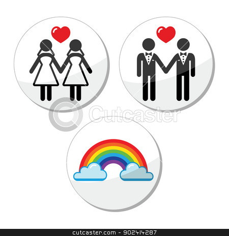 Gay, lesbian marriage, rainbow icons set stock vector clipart, Lesbian, gay, glbt community wedding labels set isolated on white by Agnieszka Murphy