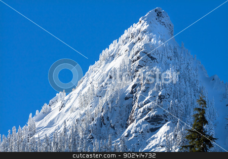 McClellan Butte Snow Mountain Peak, Snoqualme Pass Washington stock photo, McClellan Butte Snow Mountain Cascade Mountains Snoqualme Pass Washington by William Perry