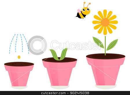 Flower in pots growth stages isolated on white  stock vector clipart, Cute spring flower growth. Vector cartoon Illustration by BEEANDGLOW