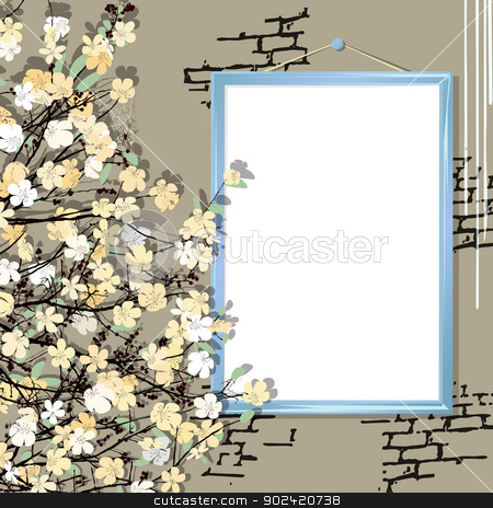 Empty frame with flowers stock vector clipart, Empty frame and flowers on a brick wall by Richard Laschon