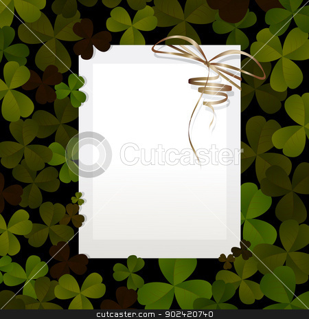 Invitation for St. Patrick's Day stock vector clipart, Invitation, card design for St. Patrick's Day with clover leaves and paper. by Richard Laschon