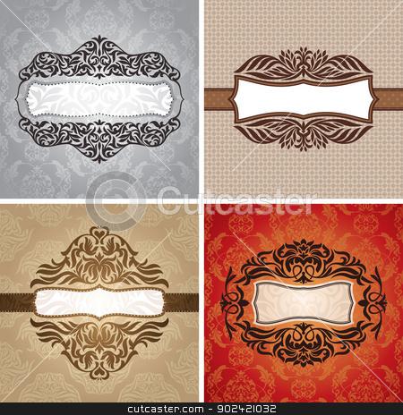 Set of vintage frames stock vector clipart, Set of floral vintage frames vector illustration by SelenaMay