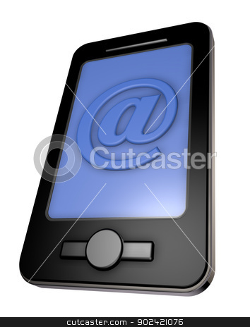 email smartphone stock photo, smartphone and email symbol on white background - 3d illustration by J?