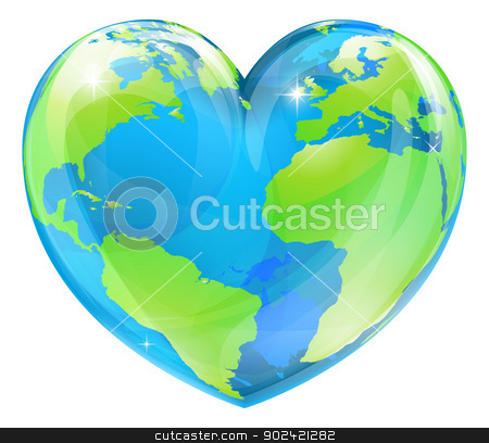Heart world globe concept stock vector clipart, A world globe in the shape of a heart symbol. Concept for loving travel, or loving the world and caring for the environment or similar by Christos Georghiou