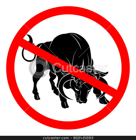 No bull sign stock vector clipart, A sign with a bull with red circle and line through it.  Signifying truth telling, no bull by Christos Georghiou