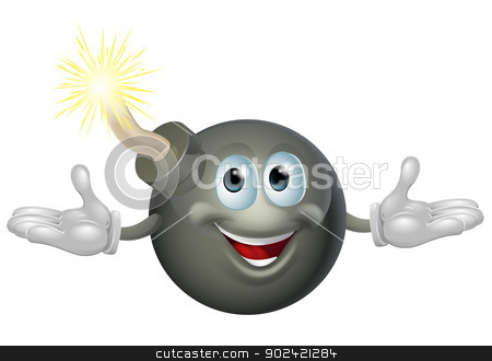 Bomb character stock vector clipart, An illustration of a cute happy bomb cartoon character by Christos Georghiou