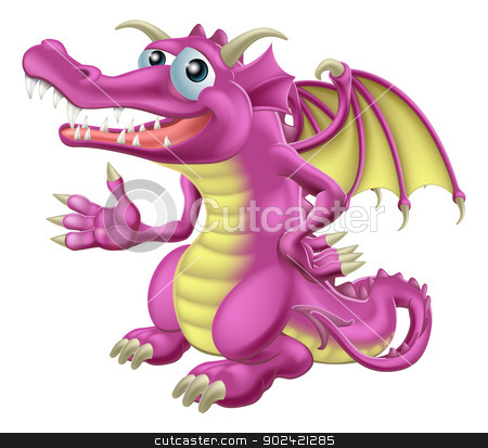 Cute Dragon stock vector clipart, Illustration of a cute happy purple dragon character mascot by Christos Georghiou