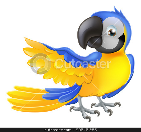 Cute blue and yellow parrot stock vector clipart, Illustration of a happy blue and yellow cartoon macaw parrot pointing with his wing by Christos Georghiou