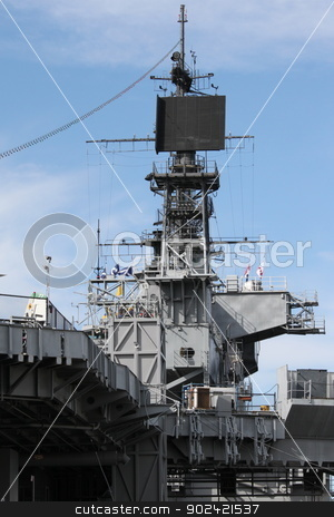 Navy Ship stock photo, Radar system of the USS Midway in San Diego by Henrik Lehnerer