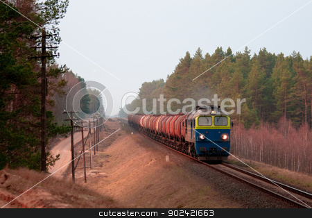 Freight diesel train stock photo, Freight train hauled by two diesel locomotives passing the forest by Jan Remisiewicz